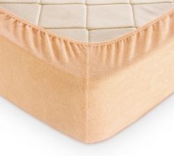 Купить кремовую махровую простынь на резинке